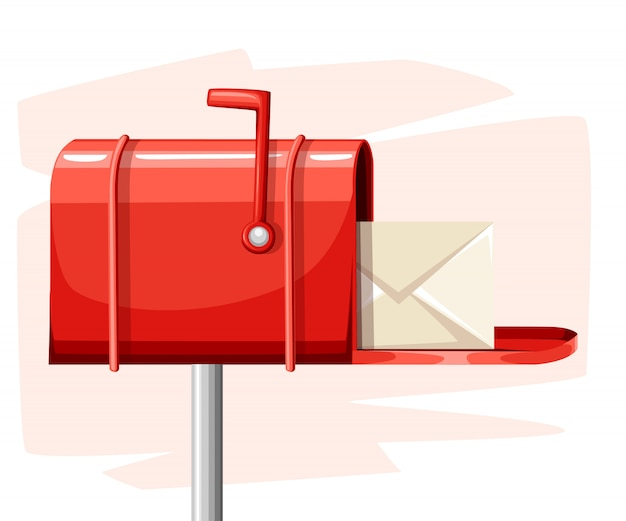 흰색 배경 웹 사이트 페이지 및 모바일 앱의 스타일 일러스트에서 메일이있는 빨간색 열린 메일 상자 게시물