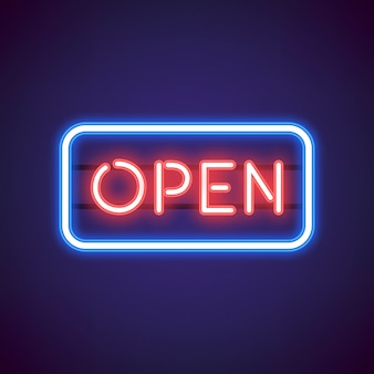 Red open neon sign vector