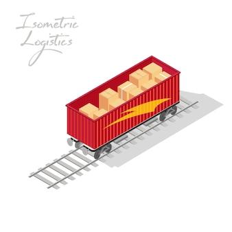 마분지 상자 또는 나무 상자가있는 열차의 빨간색 오픈 탑 컨테이너가 레일 트랙에 있습니다.
