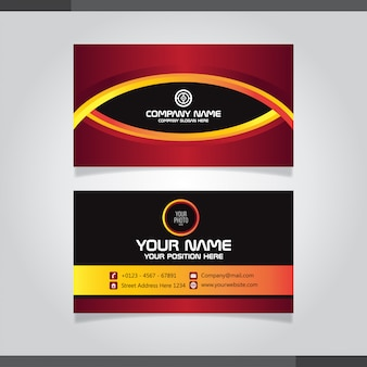 Red and orage abstract business card template - eye motif design