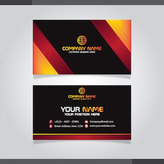 Red and orage business card template