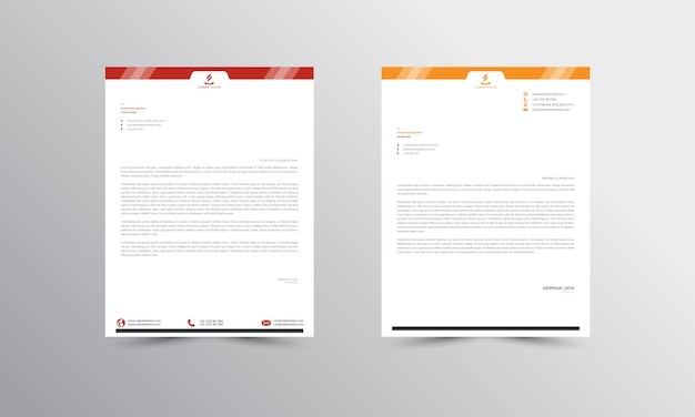 Red and orange abstract letterhead template