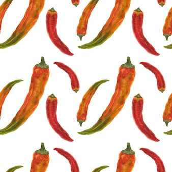 Red and orange chili peppers seamless pattern