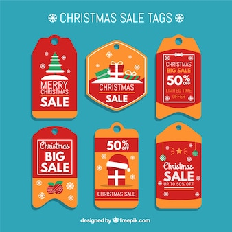 Red and orange christmas sale tags