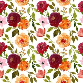 Red and orange flower watercolor seamless pattern