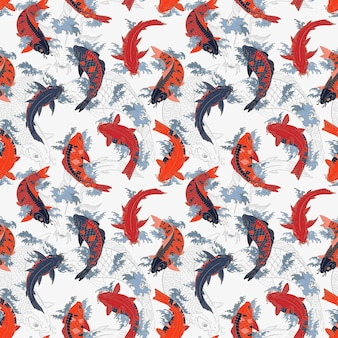 Red and orange and gray koi carps japanese light seamless pattern