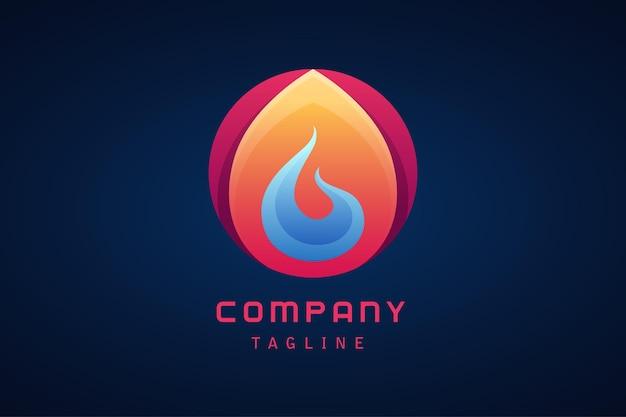 青い火の抽象的なグラデーションのロゴと赤オレンジ紫の円