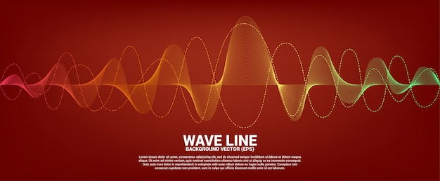 Red and orange sound wave line curve on red background. element for theme technology futuristic vector