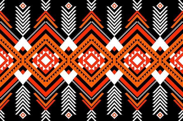 背景、カーペット、壁紙の背景、衣類、ラッピング、バティック、ファブリックの黒の幾何学的な東洋のikatシームレスな伝統的な民族パターンのデザインに赤-オレンジ-白。刺繡スタイル。ベクター