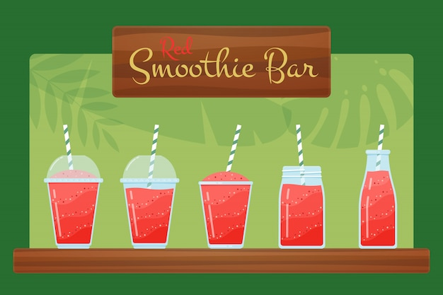 Red organic strawberry smoothie cocktails illustration set