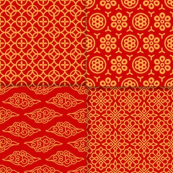 Red oriental pattern set