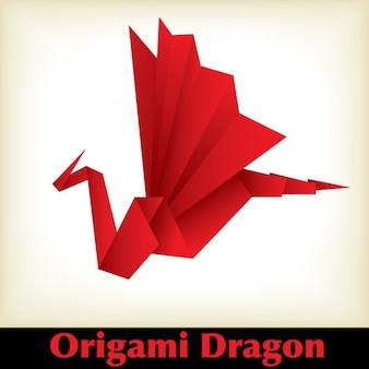 レッド折り紙の龍