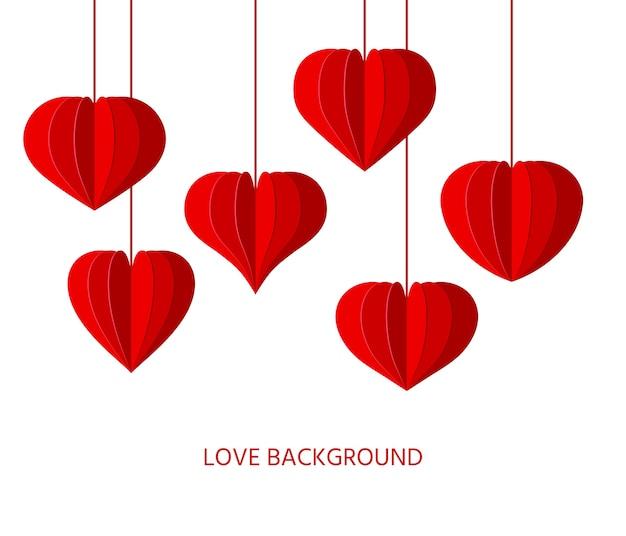 빨간 종이 접기 하트 종이 잘라 배경. 발렌타인 데이, 사랑 낭만주의 상징 접힌 중국어 등불