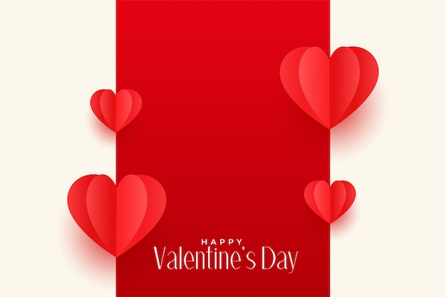 Red origami hearts valentines day greeting design