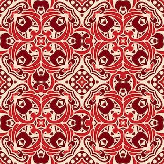 赤い装飾的な背景。シームレスな花柄。クリスマスの赤い背景