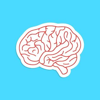 赤い輪郭の脳のアイコンのステッカー。思考、アートワーク、成功、ブレーンストーミング、神経質、心理学、脳の概念。青い背景に分離。フラットスタイルのモダンなロゴタイプデザインベクトルイラスト