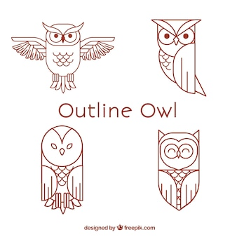 Red outline owl set
