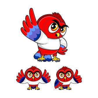 赤いフクロウのマスコット