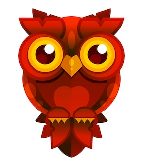 Red owl on white background