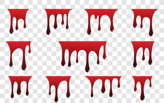 Red paint dripping isolated