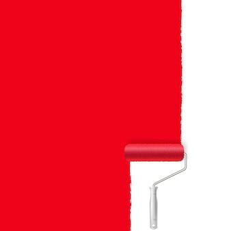 빨간색 페인트 롤러 및 페인트 스트로크