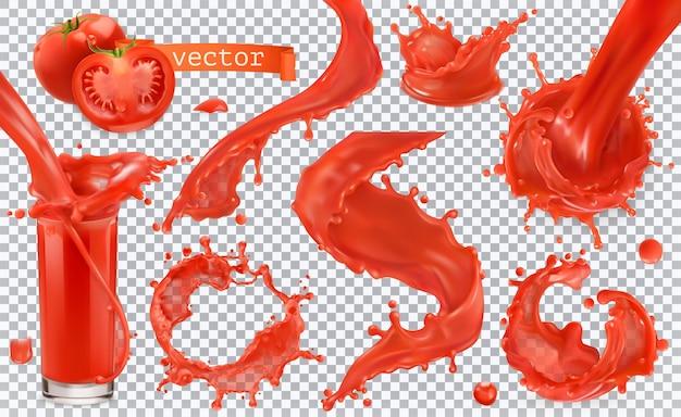빨간 페인트 얼룩입니다. 토마토, 딸기. 3d 현실적인 벡터 아이콘 세트