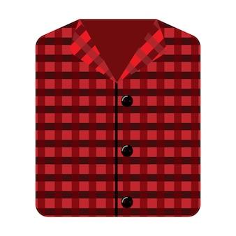 白い背景の上のパターンと睡眠のための赤いパジャマ。スタイルフラットベクトルイラストのライフスタイルのための柔らかい要素の就寝時間。