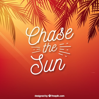 Red palm tree silhouettes background with quote