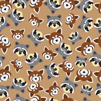 Красная панда и енот бесшовные модели