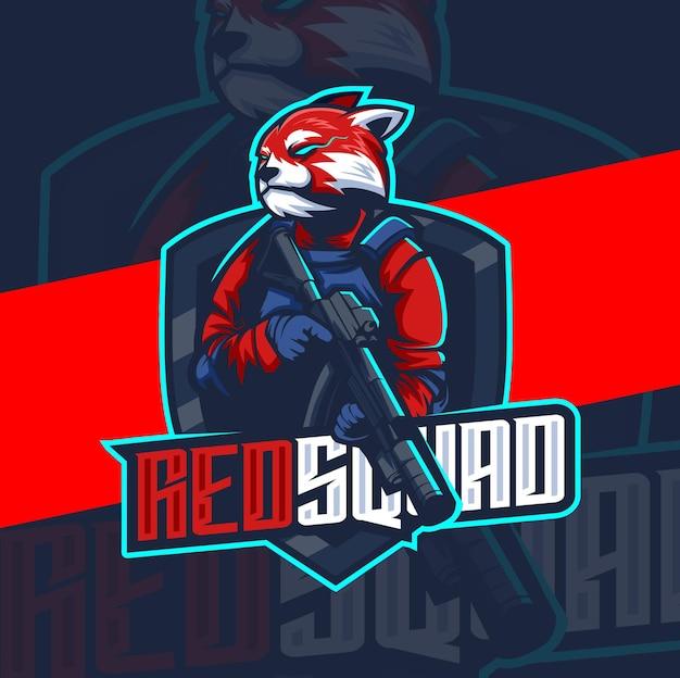 무기 마스코트 esport 로고 디자인 캐릭터가 있는 레드 팬더 군대