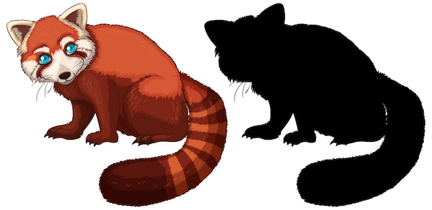 Red panda cartoon character its silhouette