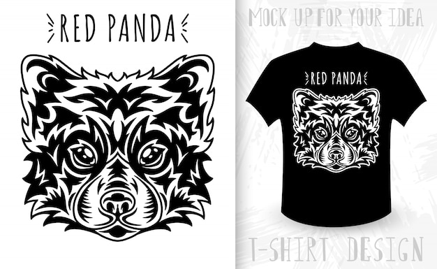 Red panda face. idea for t-shirt print in vintage monochrome style.