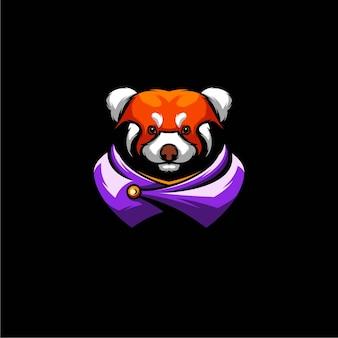 レッサーパンダの戦士のイラストデザイン、eスポーツのロゴ。