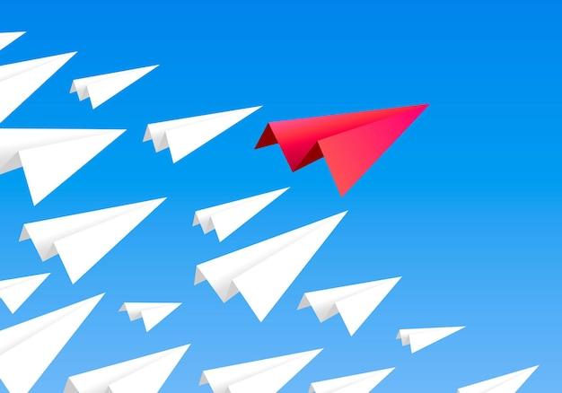 Красный бумажный самолетик как лидер среди белых самолетиков. лидерство, работа в команде, концепция мотивации. векторная иллюстрация