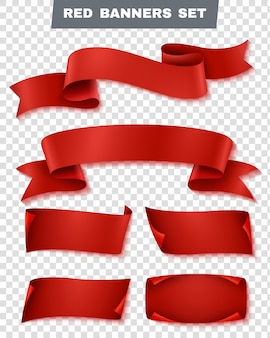 Red paper banner transparent  set