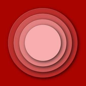 Red paper cut circle background.  illustration.