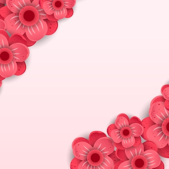 Red paper cut flowers vector banner
