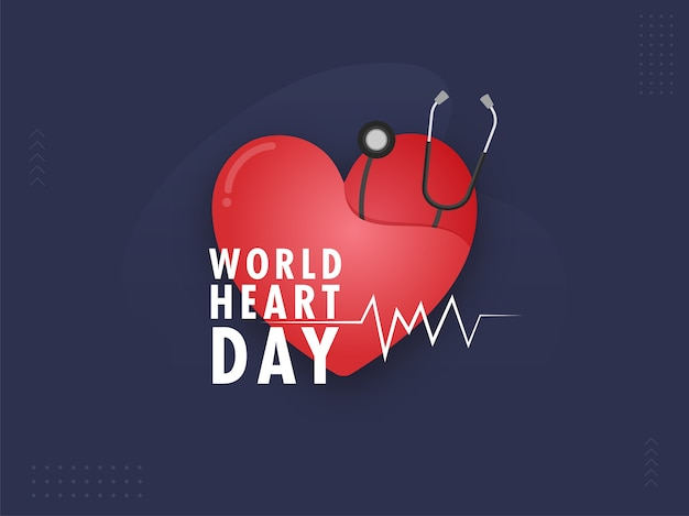 Red paper cut heart with stethoscope on blue background for world heart day.