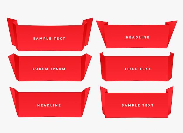 Красная бумага складки оригами стиль баннер
