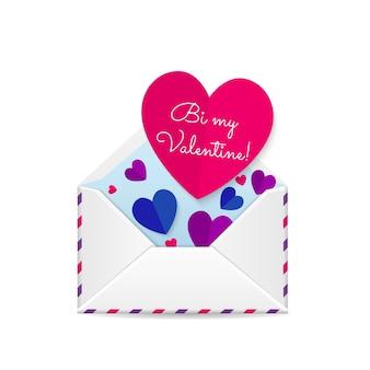 バレンタインデーのグリーティングカードの赤い紙の心
