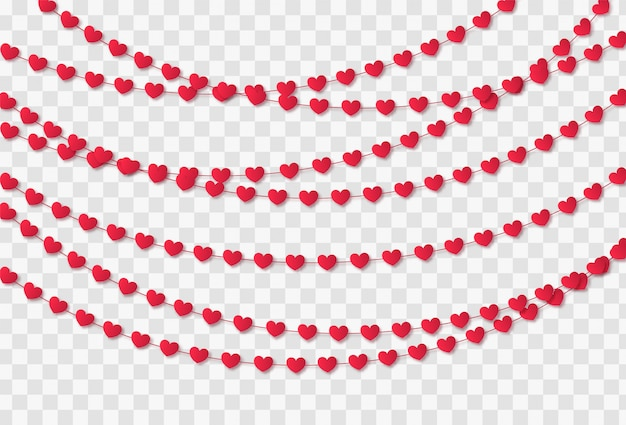 Red paper hearts garland isolated on a transparent background. valentine's day celebration