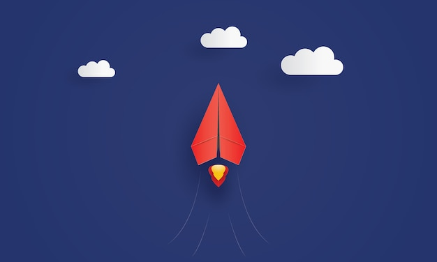 Red paper leader airplane flying in the sky, concept inspiration business, paper cut