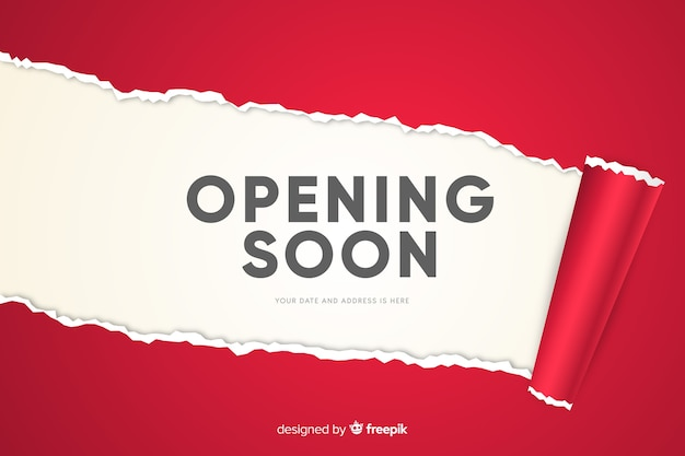 Red paper opening soon background realistic design