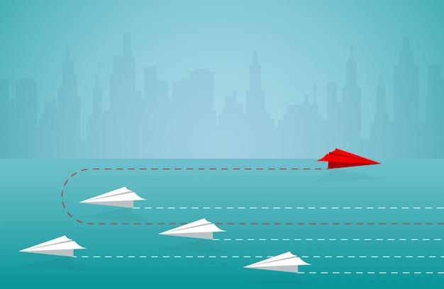 빨간 종이 비행기는 흰색에서 방향을 변경합니다. 새로운 생각. 다른 사업 개념입니다. 용기를 내십시오. 지도. 일러스트 만화 벡터
