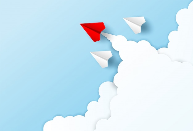 Red paper plane leadership to sky