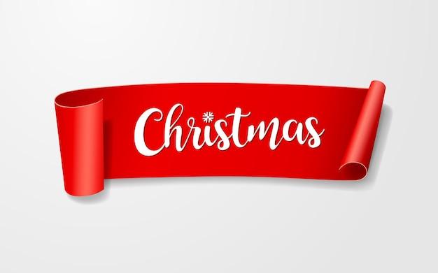 赤い紙のロールラベル、メリークリスマス