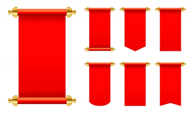 Red paper scroll set