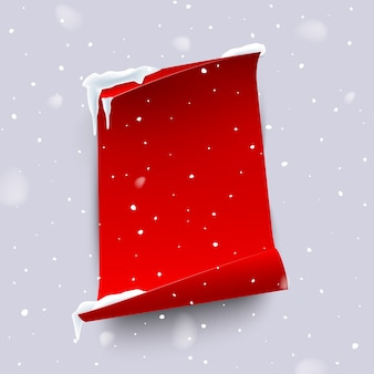 Red paper sheet with curled edges isolated on snowfall background