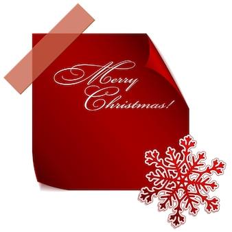 Красная бумажная снежинка над красной бумажной наклейкой. eps10 вектор.