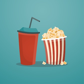 Red paper soda cup and popcorn bucket